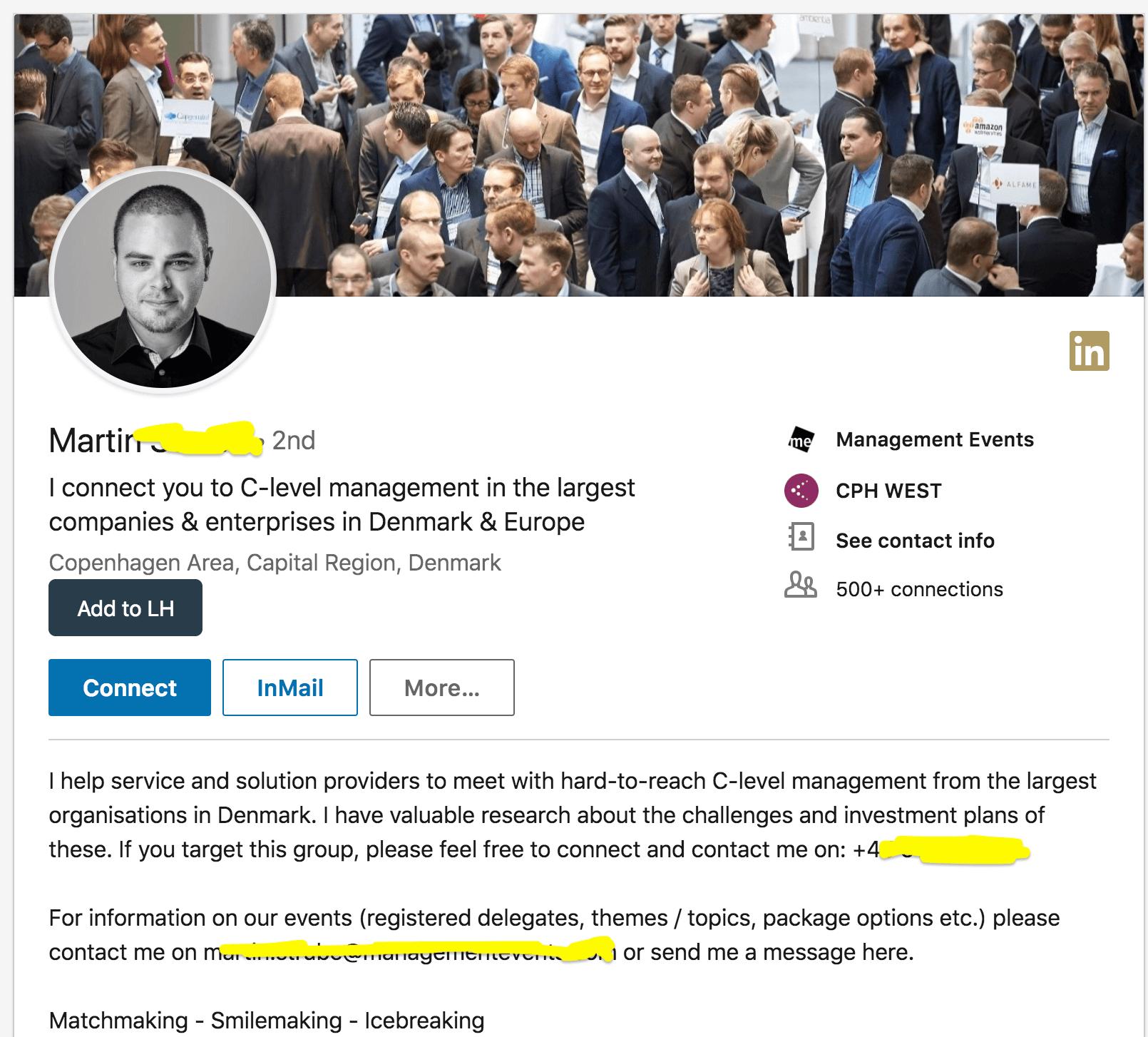 пример классного профиля в Linkedin