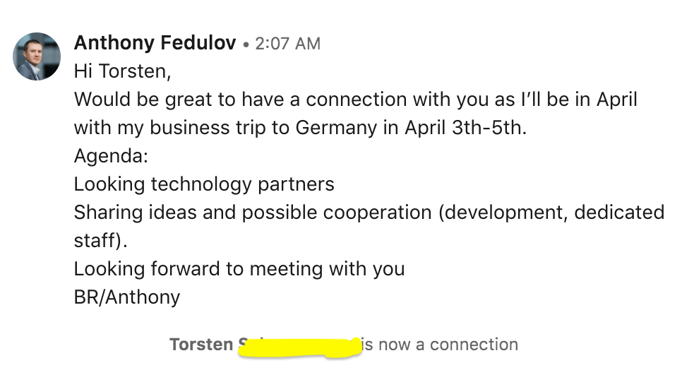 пример диалога в Linkedin