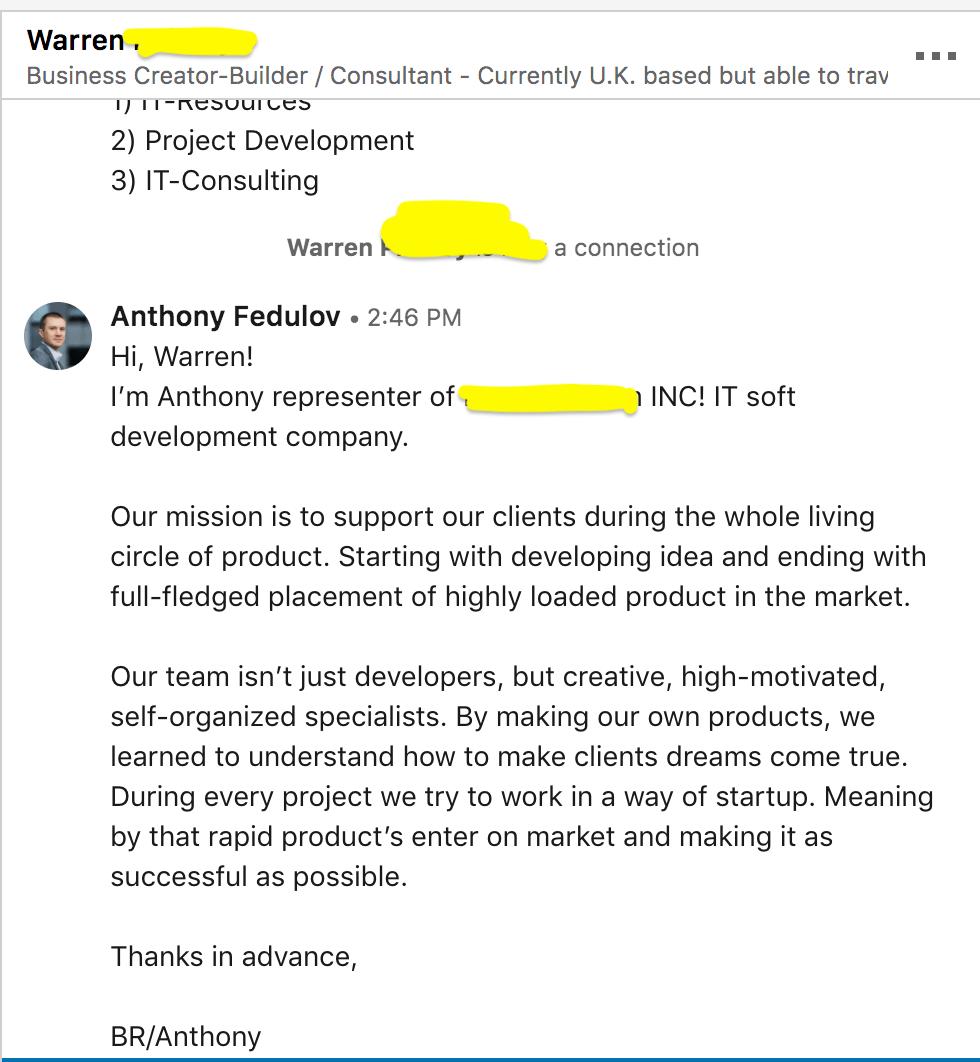 холодный подход в общении через Linkedin